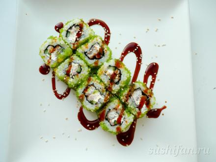 ролл с угрем и креветками готов  | суши, роллы, сашими