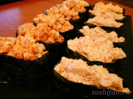 Спайси ика и спайси кани гунканы | суши, роллы, сашими