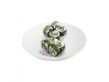 Ис Сэн Эн маки: Лосось, огурец, такуан, лист салата, майонез, укроп | суши, роллы, сашими
