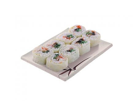Каори: Копченый угорь, сыр Филадельфия, огурец, икра летучей рыбы, обернутые в яичный блинчик | суши, роллы, сашими