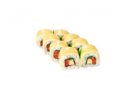 Президент рол: Рол с копченой форелью, японским омлетом и зеленым луком. Укрыт сливочным сыром. | суши, роллы, сашими
