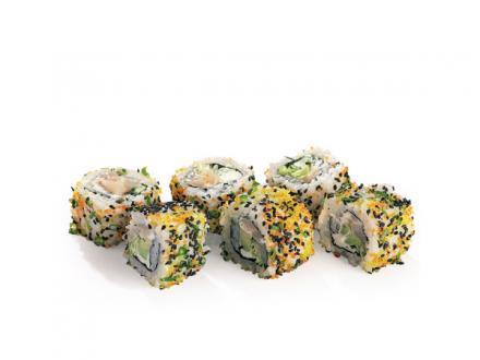 """Фурикакэ рору: нежный ролл с морским гребешком и сыром """"филадельфия""""   суши, роллы, сашими"""