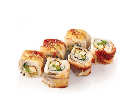 Шеф токусэн: ролл из тофу, омлета, огурца, латука и икры капеллана в копчёном угре | суши, роллы, сашими