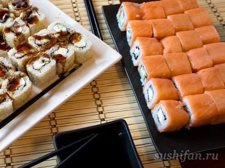 Суши-пати с лососем и угрем. | суши, роллы, сашими