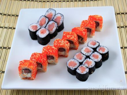 Сяке кунсей маки + масаго ролл | суши, роллы, сашими
