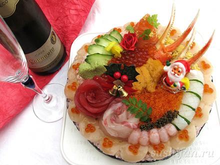 Новогодний суши торт | суши, роллы, сашими