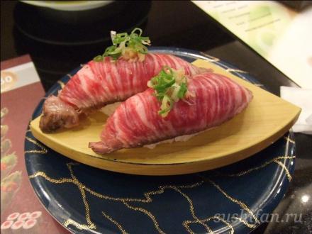 суши из сырого мяса (мраморная говядина)   Вот такие суши в японии   суши, роллы, сашими