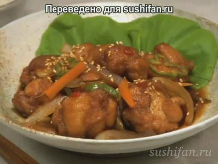 Цыпленок в нанбан (кисло-сладком) соусе | суши, роллы, сашими