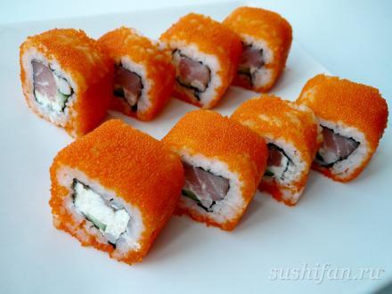 Масаго ролл | суши, роллы, сашими