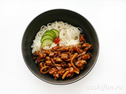 Сомен с морепродуктами в соусе терияки | суши, роллы, сашими