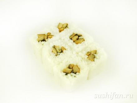 Роол в рисовой бумаге с грибами шиитаке | суши, роллы, сашими