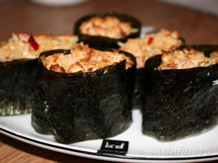 Запеченные суши с крабовыми палочками | суши, роллы, сашими