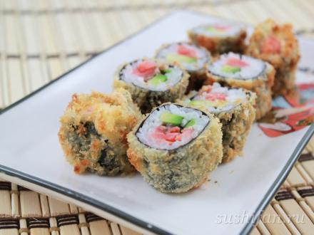Авокадо сяке маки в темпуре | суши, роллы, сашими