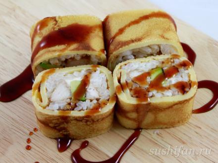 Ролл с курочкой в яичном блинчике | суши, роллы, сашими