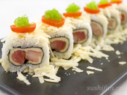 Ролл 2 сыра с семгой и креветками | суши, роллы, сашими
