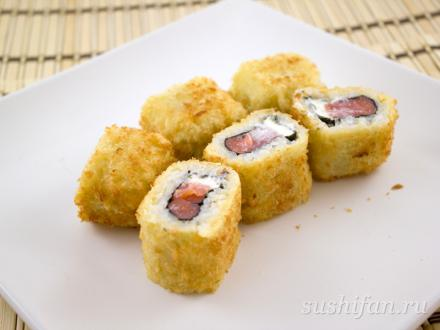 Горячий ролл рисом наружу | суши, роллы, сашими