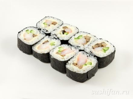 Ролл с плавленным сыром, креветками и шиитаке | суши, роллы, сашими