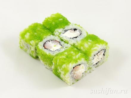 Ролл с креветками и сыром в тобико | суши, роллы, сашими