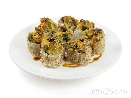Запеченный под мидиями ролл с угрем | суши, роллы, сашими