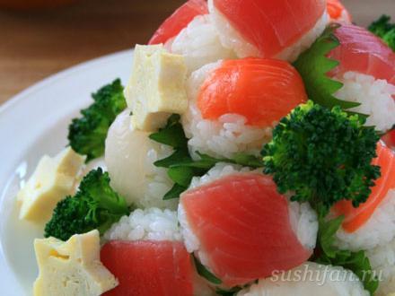 Пирамидка из маленьких темари суши | суши, роллы, сашими