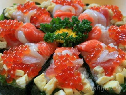 праздничный суши-пирог с хризантемой | суши, роллы, сашими