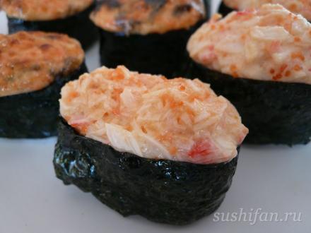 Горячие суши с крабовыми палочками | суши, роллы, сашими