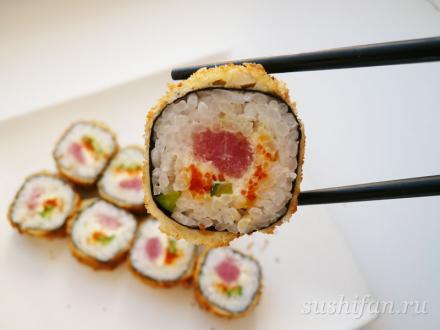 Горячие роллы в панировке | суши, роллы, сашими