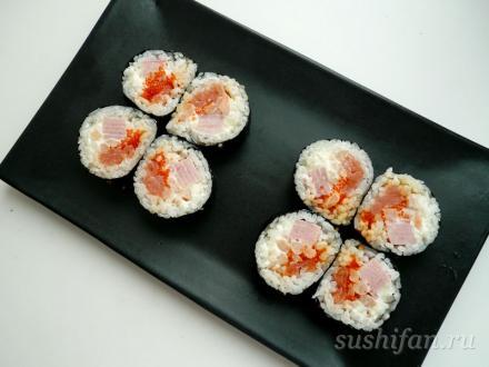 Большие роллы с карбонадом | суши, роллы, сашими