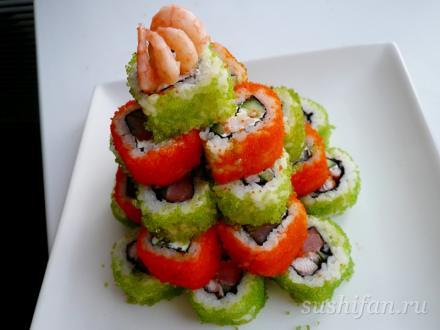 Новогодние суши - елочка | суши, роллы, сашими