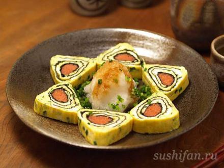 Треугольные суши в омлете | суши, роллы, сашими