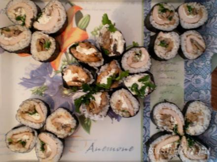 Роллы с мясом и грибами | суши, роллы, сашими