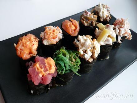 Сусуми 1/6 суши. Набор гунканов | суши, роллы, сашими